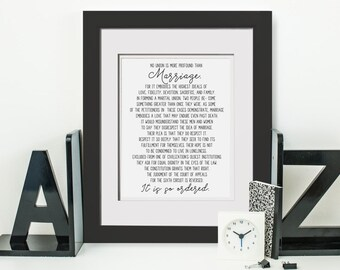 No Union Is More Profound Than Marriage, It Is So Ordered|Gay Marriage Poem|Gay Wedding Gift|Gay Marriage Art Print|Gay Lesbian Wedding Gift