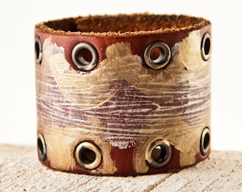 Women's Cuff Jewelry Leather Wide Bracelet Unique Limited