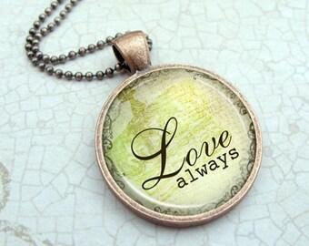 Love Always Necklace : Glass Dome Pendant Picture Pendant Photo Pendant (1114)