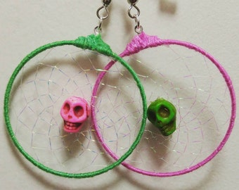 Green and Pink Skull Dreamcatcher Earrings