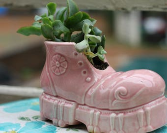 Quirky Pink Shoe Planter and Succulent