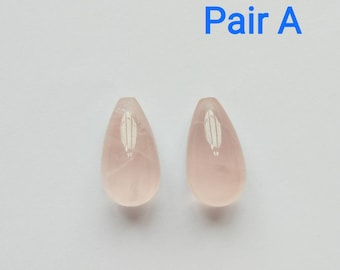 AA Grade LARGE Pink Brazilian Rose Quartz Half Drilled Drops 12x22 mm 1 Pair N5061