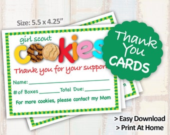 2018 Girl Scout Cookie ORDER FORM Thank You Card Receipt Blank Note Cards Printables 2/page 8.5x11 Printable for Cookie Booth Decor Supplies