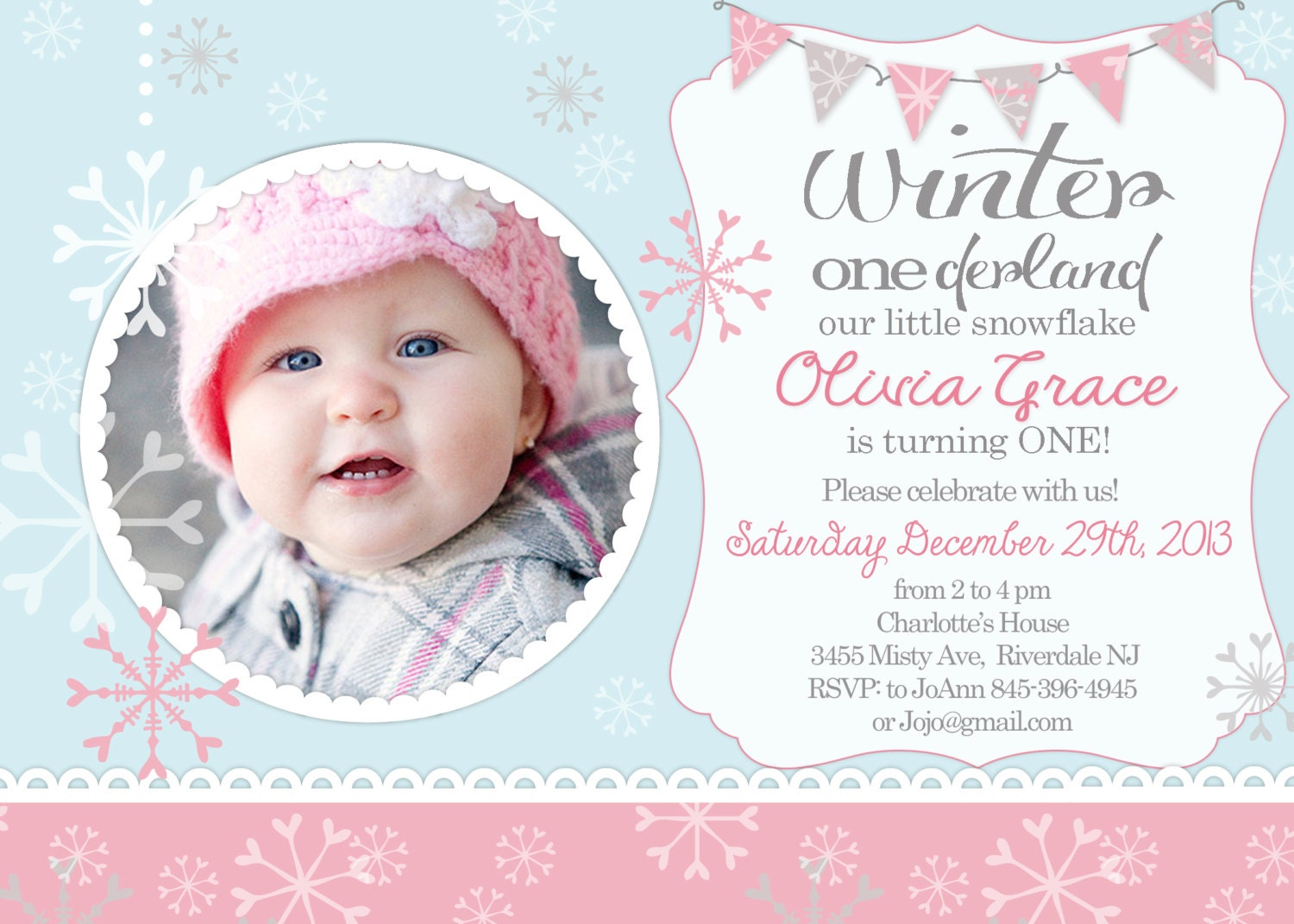 OneDerland Winter First Birthday invitation
