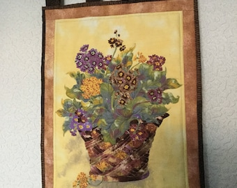 Quilted Primrose Auriculas Spring Flower Wall Hanging Table Topper