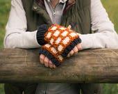Colorwork Fingerless Mittens, Knitted Wool Winter Textured Fingerless Gloves - Riprap Mittens