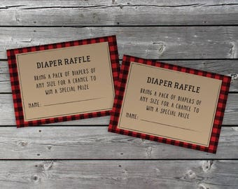 Diaper Raffle Ticket - Lumberjack, Buffalo Plaid - PRINT AT HOME
