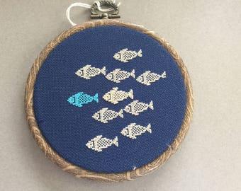 """Embroidered Hoop  art in 4"""" hoops various designs"""