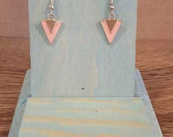 Light pink and silver triangle earrings