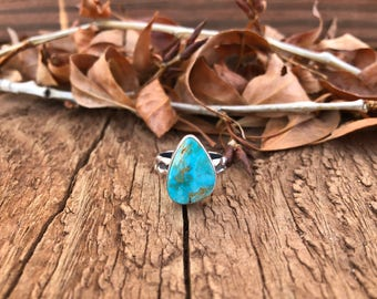 Natural Mongolian Turquoise Ring Handmade with .925 Sterling & Fine Silver SIZE 7.5 for the free spirit stone lover