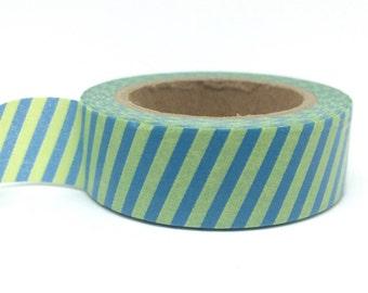 Green & Blue Striped Washi Tape