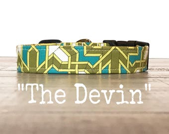 Cool DOG COLLAR, Dog Collars, The DEVIN, Turquoise, Green, Geometric, Dog Collar, Dog Collars for Boys