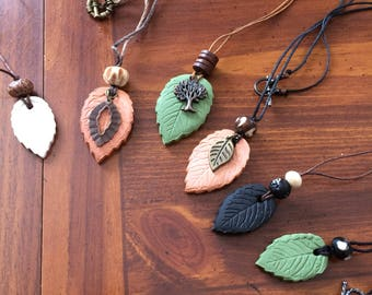 Essential Oils Leaf Aromatherapy Necklace Pick your favorite color