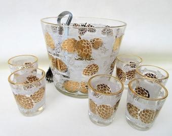Vintage Glass Ice Bucket | Shot Glasses | Midcentury Barware Set | Pine Cone Glass | Metal Ice Tongs | Gold White Glassware | Lot of 8