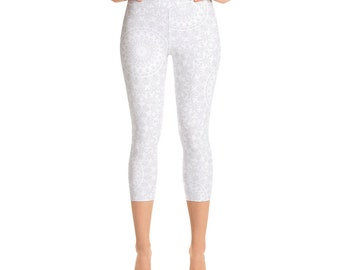 Capris Leggings White High Waist, Cropped Yoga Pants, Women's Printed Leggings