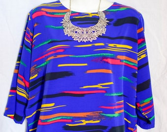 Awesome Retro Blue Multi-Color 3/4 Sleeve Blouse (L)