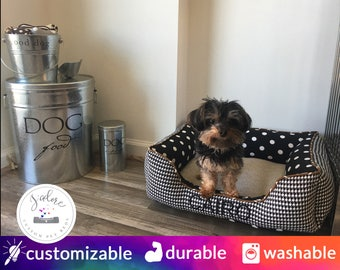 Houndstooth Dog Bed - Black, White, Tan, Brown - Classy, Classic, Designer Dog Bed | Design Your Own!