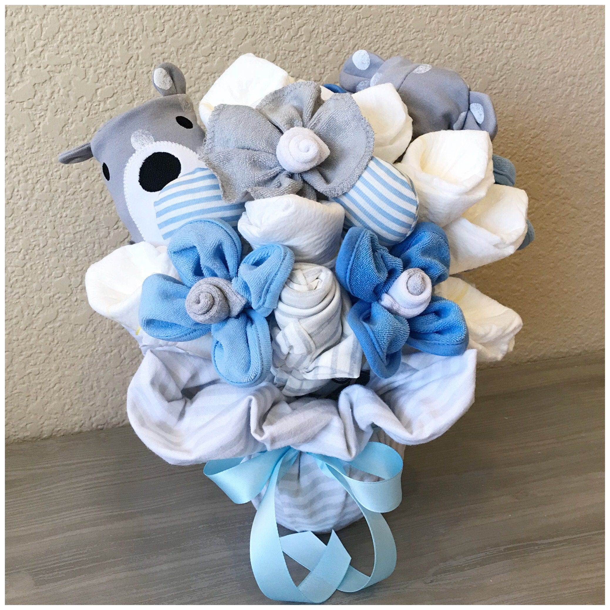 1st mothers day gift bouquet new baby gift basket for boy teddy 1st mothers day gift bouquet new baby gift basket for boy teddy bear baby shower centerpiece baby gift onesiesock bouquet negle Gallery