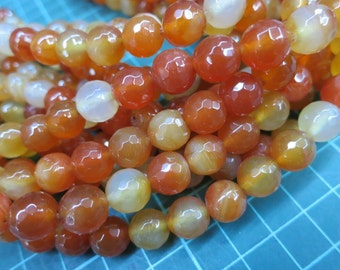 Brownish Red Agate 10mm Round Beads faceted