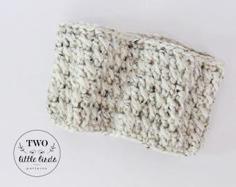 Crochet Cowl, crochet scarf, crochet neck warmer, chunky crochet cowl, crochet infinity cowl, Child size, oatmeal, ELSIE COWL
