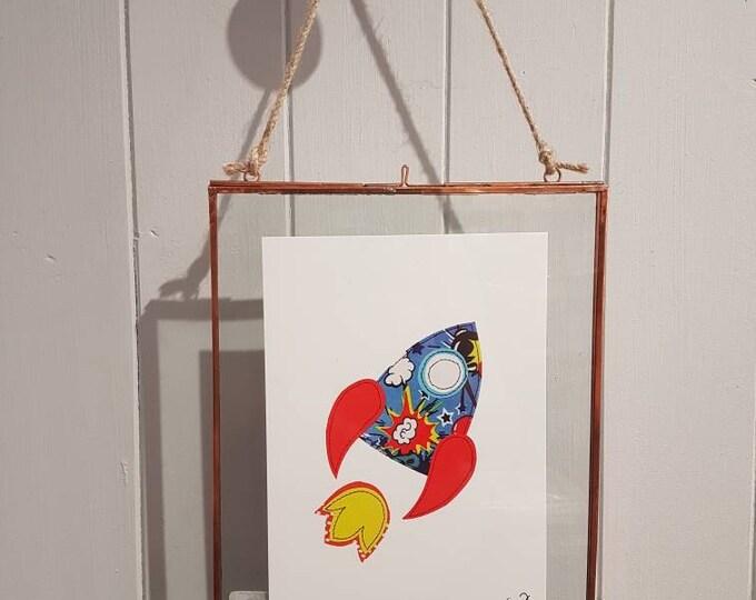 Rocket - A5 print taken from original stitched textile artwork - 300gsm