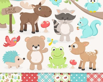Cute Woodland Animals Clip Art & Papers - Woodland Clipart, Forest Animal Clipart, Woodland Animal Vectors, Bear Clip Art, Owl Clip Art
