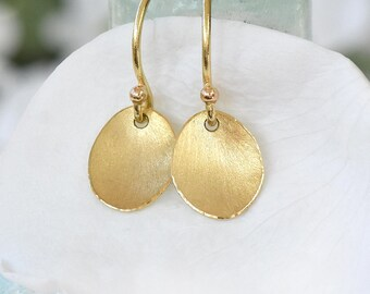 Flower Petal Earrings, Ethical 18k Yellow Gold, Petal Drop Earrings