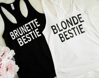 Custom Bachelorette, Matching Shirts, Group Tank Tops, Birthday Shirts, Brunette Best Friend, Funny Tank, Clothing, Best Friend Gift, V2