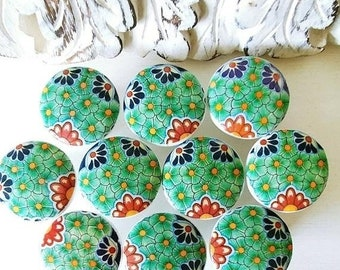 SALE15 10 wooden drawer knobs; Talavera design  hand decorated (decoupaged)1 1/2 inches 10 knobs
