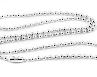 "50 Silver Ball Chain Necklace - 18"" - 2.4mm - Ball Chains"