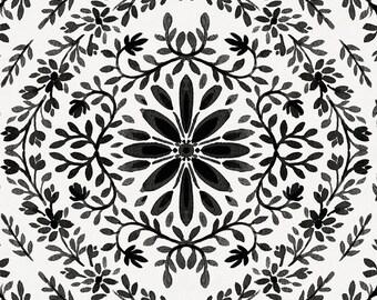 Onyx Floral Damask Organic Fabric - By The Yard - Girl / Modern / Fabric