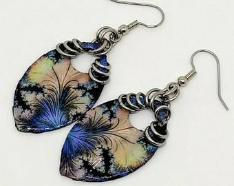 Fractal Flower Earrings - Boho Earrings - Chainmaille Earrings - Drop Earrings - Statement Jewelry - Scale Maille - Gift for Her