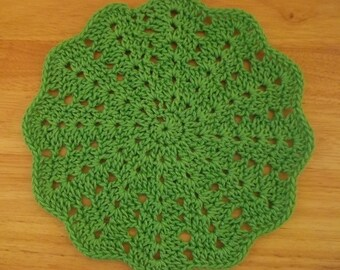 Doily - Crochet Doily - Large Doily in Green