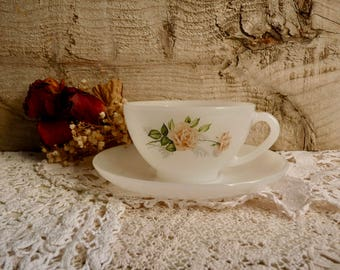 Vintage ARCOPAL CUP and SAUCER, Large Breakfast Cup, French Opaline Milk Glass with Pink Roses Pattern. 1970s.