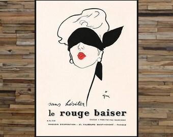Le Rouge Baiser, Vintage Fashion Ad, Vintage Art, Giclee Art Print, fine Art Reproduction
