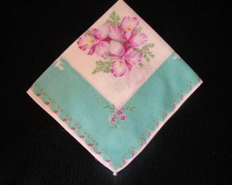 Hankie with Purple Orchids and Turquoise Border in Vintage Cotton