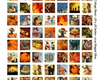 Halloween Squares Collage Sheet - 7/8 Inch - Printable Witches, Pumpkins, Cats, Autumn Images - Instant Download