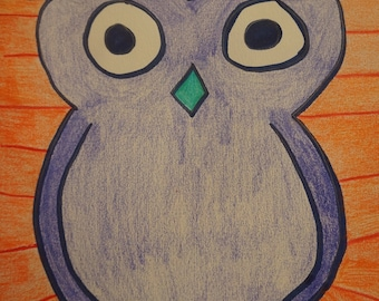 Owl Original Colored Pencil Drawing - Abstract, 8X10 Framed