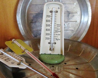 Vintage Taylor Oven Thermometer Green & White Kitchen Thermometer
