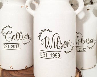 Table Centerpieces   Ceramic vase  rustic home decor  personalized   kitchen storage  table centerpieces  table decor  rustic  kitchen decor