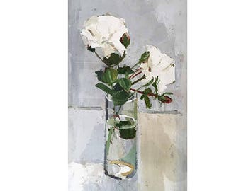 White Roses Card/Print Oil Painting