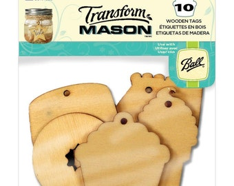 10 Pack Sweet Treats Mason Wooden Tags - Gift Tags, Jar Tags, Favor Tags, Wood Tags