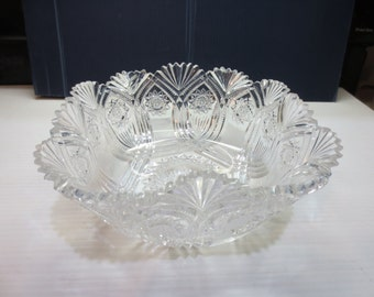 American Brilliant Cut Crystal Square Bowl Circa Early 1900s