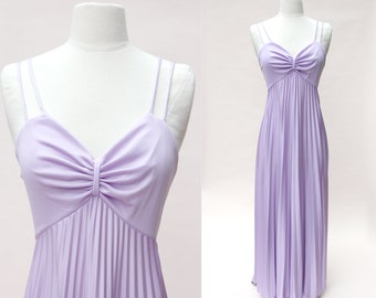 Vintage 70s Maxi Dress / Lilac Disco Dress / Full Length Summer Dress