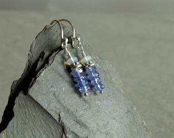 Tanzanite Opal Earrings, small stacks, natural gemstones, Ethiopian opals, violet blue tanzanite, sterling beads, dainty tanzanite jewelry