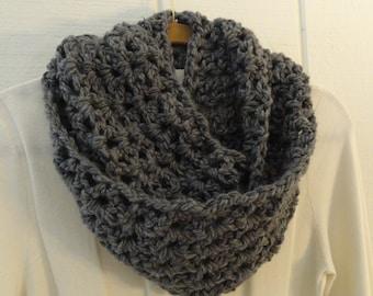 Crochet Infinity Scarf Cowl Medium Charcoal Gray Chunky Soft Warm 10 Colors