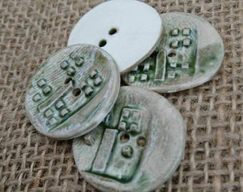 Set of Four Handmade Ceramic Green Rustic Buttons/Craft Buttons/Bespoke Buttons/Crochet/Knitting/Sewing/Fashion/Haberdashery.