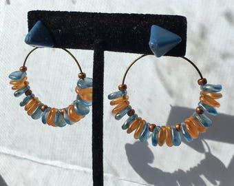 Slate blue and tangerine hoop earring jacket and stud