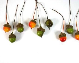 Mixed Acorns Green Yellow Orange Set Of 9 Fairy Garden Acorns Terrarium Wreaths Craft Supplies
