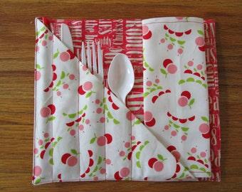 Cherry Silverware Holder - Utensil Holder - Crabapple Hill Fabric - Picnics, Lunchbox, Travel, Baby Showers, Bridal Showers